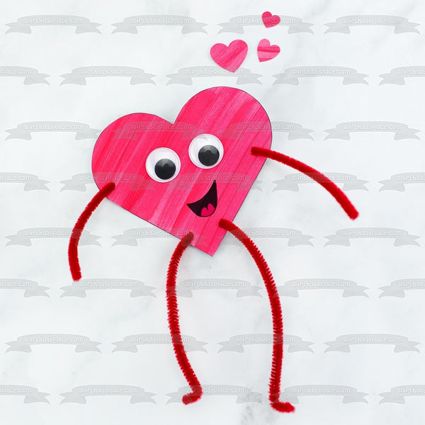 Happy Valentine's Day Heart Man Stick Figure Edible Cake Topper Image ABPID53581
