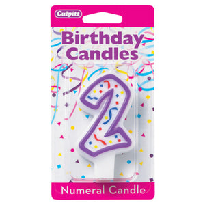 A Birthday Place - Cake Toppers - 2' Purple Numeral Candles