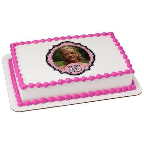 A Birthday Place - Cake Toppers - Fashionable 15 Edible Cake Topper Frame