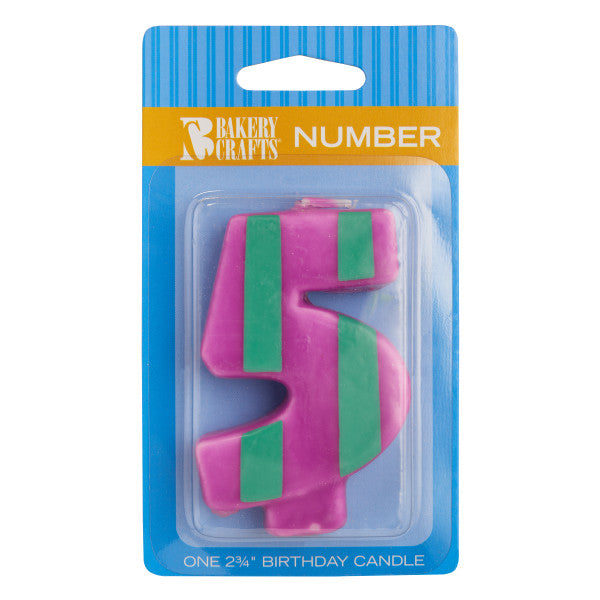 Bakery Crafts '5' Numeral Stripes & Dots Candles
