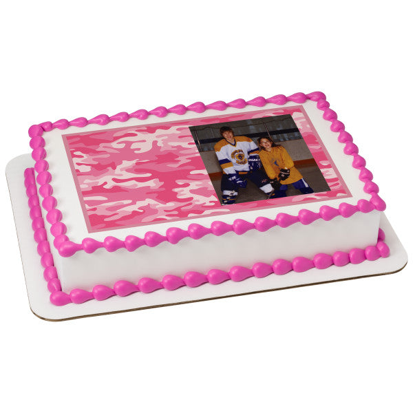 Pink Camo Hunting Edible Cake Topper Image Frame