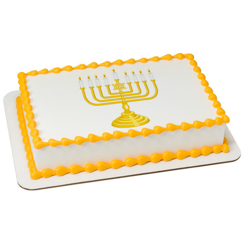 A Birthday Place - Cake Toppers - Menorah Edible Cake Topper Image