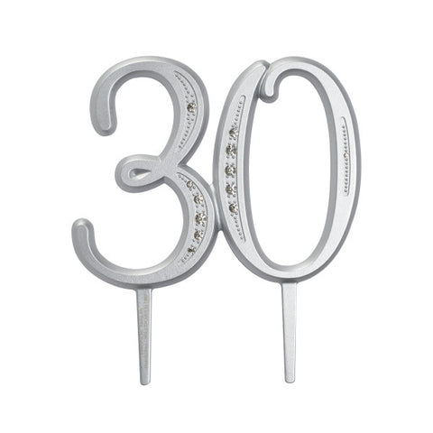 "A Birthday Place - Cake Toppers - ""30"" Diamond Milestone Monogram"