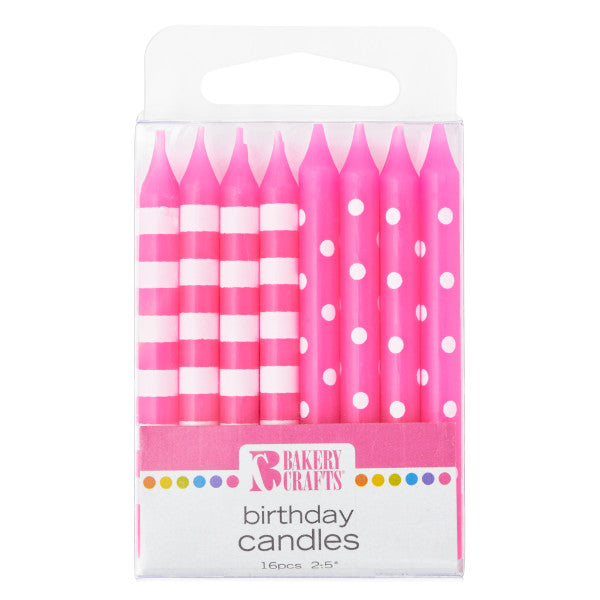 A Birthday Place - Cake Toppers - Bakery Crafts 16 Pink Stripes & Dots Candles