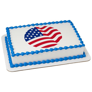 A Birthday Place - Cake Toppers - American Flag Round Edible Cake Topper Image