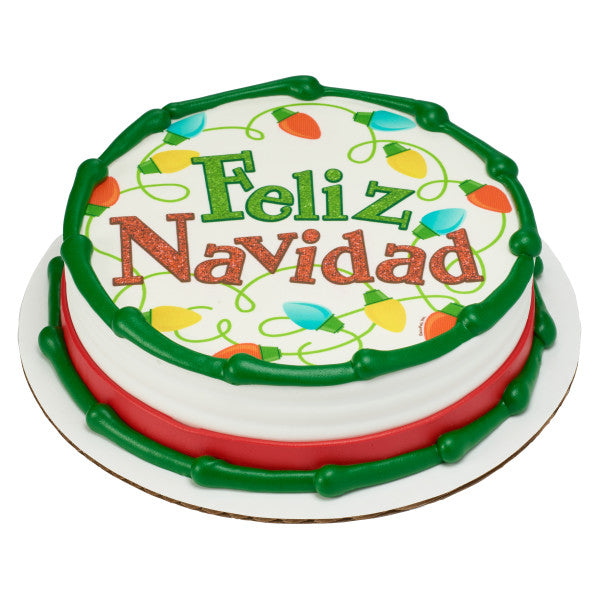 A Birthday Place - Cake Toppers - Playful Feliz Navidad Edible Cake Topper Image