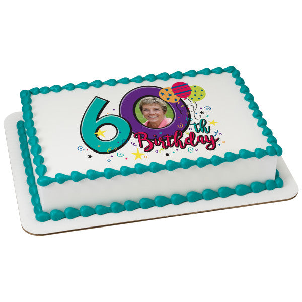 Happy 60th Birthday Edible Caker Topper Frame