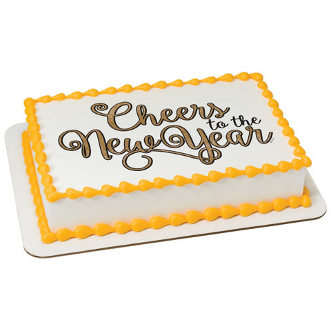 A Birthday Place - Cake Toppers - Cheers to the New Year! Edible Cake Topper Image