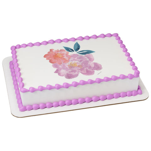 A Birthday Place - Cake Toppers - Watercolor Peony Edible Cake Topper Image