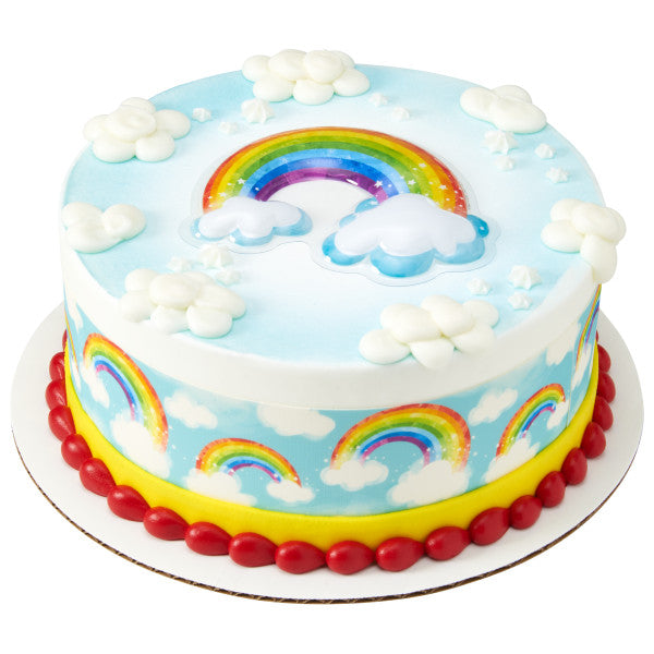 Rainbow with Clouds Edible Cake Topper Image Strips
