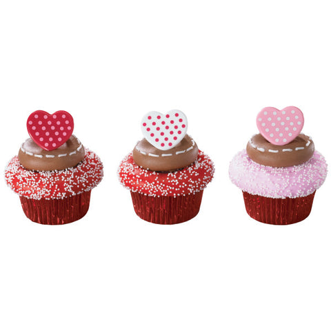 Polka Dot Hearts Cupcake Rings