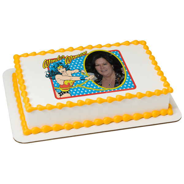 A Birthday Place - Cake Toppers - Wonder Woman Golden Lasso Edible Cake Topper Frame