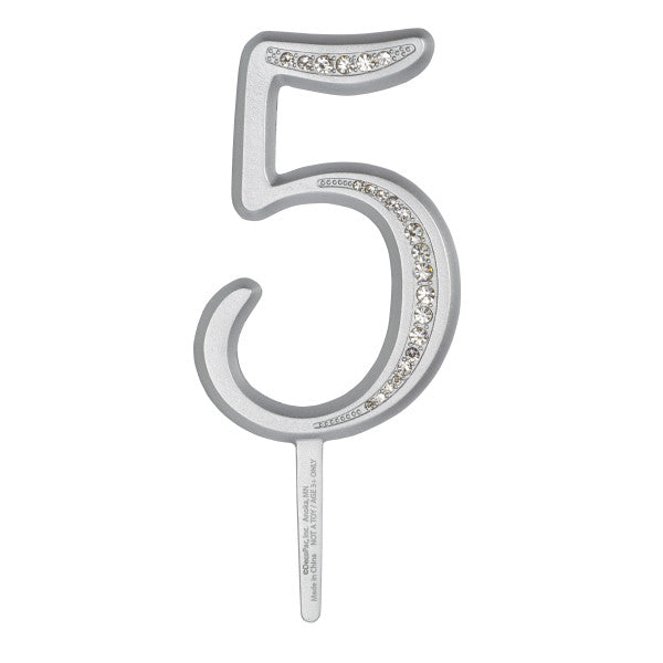 "A Birthday Place - Cake Toppers - 3.5"" 5 Diamond Number Monogram"