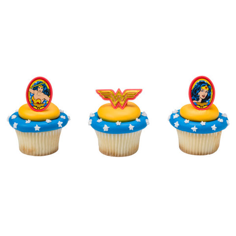 A Birthday Place - Cake Toppers - Wonder Woman Amazing Amazon Cupcake Rings