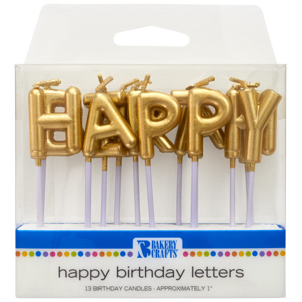 Gold Happy Birthday Letters Specialty Candles