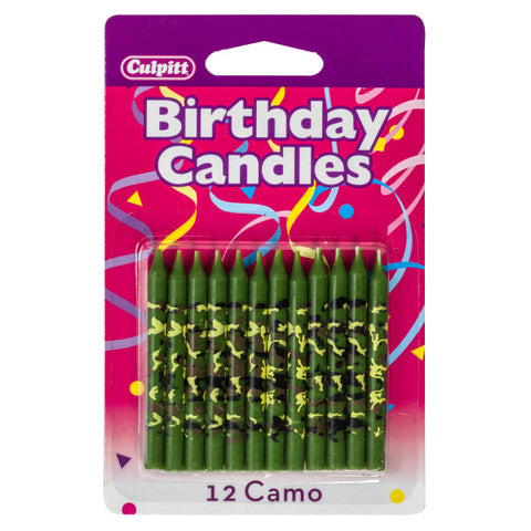 A Birthday Place - Cake Toppers - Camo Print Traditional Candles