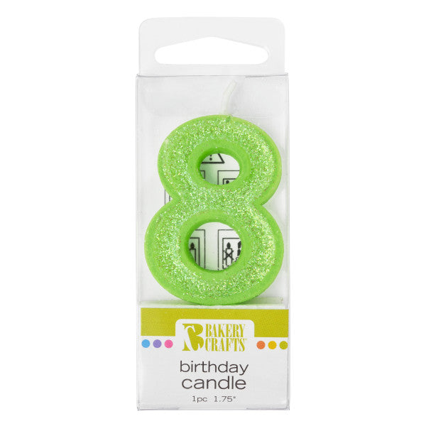 Bakery Crafts '8' Glitter Numeral Candles
