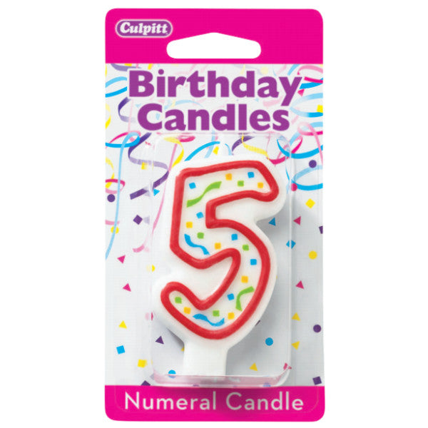 5 Party Red Numeral Candles