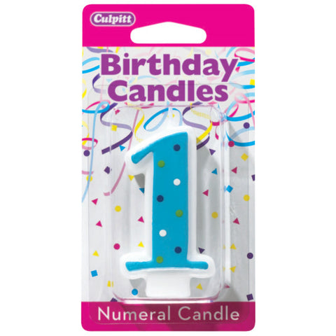 1 First Birthday Blue Dots Numeral Candles