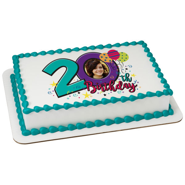 Happy 20th Birthday Edible Cake Topper Frame A Place