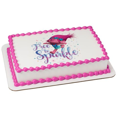 Trolls Free to Sparkle Edible Cake Topper Image