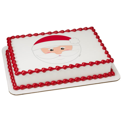 A Birthday Place - Cake Toppers - Be Jolly Santa (Caucasian) Edible Cake Topper Image