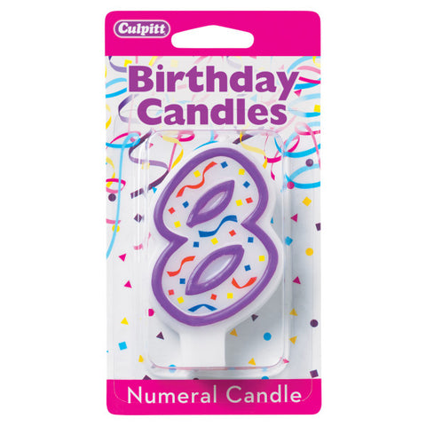 A Birthday Place - Cake Toppers - 8' Purple Numeral Candles