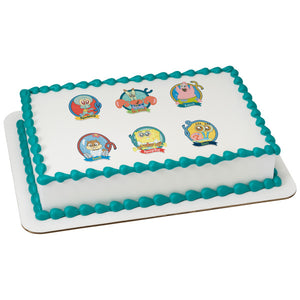 "SpongeBob SquarePants™ Crew's All Here 3"" Round Edible Cake Topper Image"