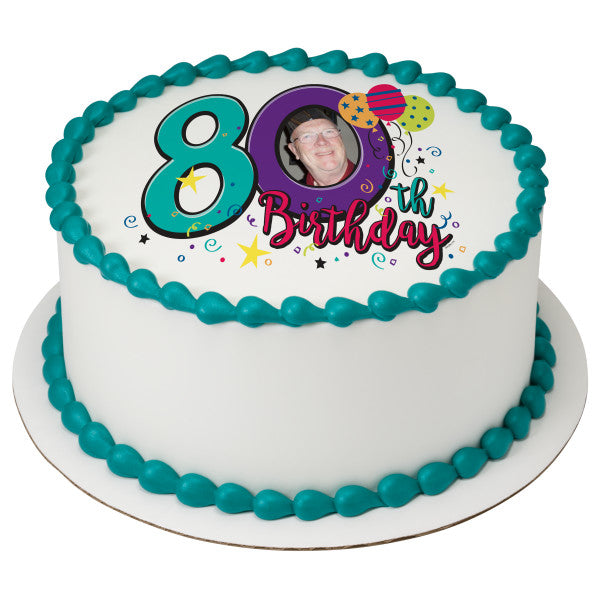 Happy 80th Birthday Edible Cake Topper Frame A Place