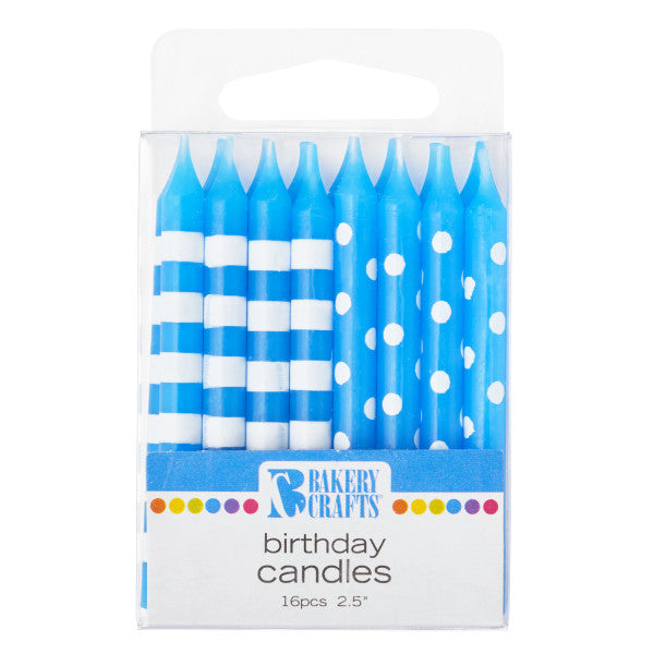 A Birthday Place - Cake Toppers - Bakery Crafts 16 Blue Stripes & Dots Candles