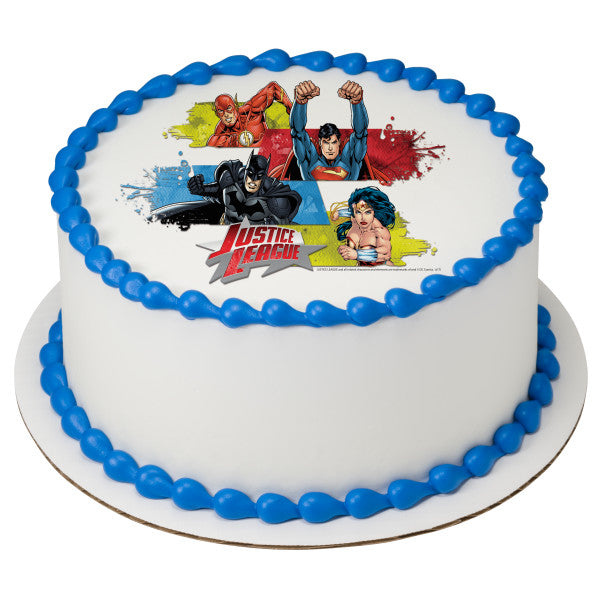 Outstanding Justice League Team Unite Edible Cake Topper Image A Birthday Place Funny Birthday Cards Online Kookostrdamsfinfo
