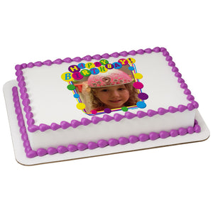 A Birthday Place - Cake Toppers - Happy Birthday-Party Edible Cake Topper Frame