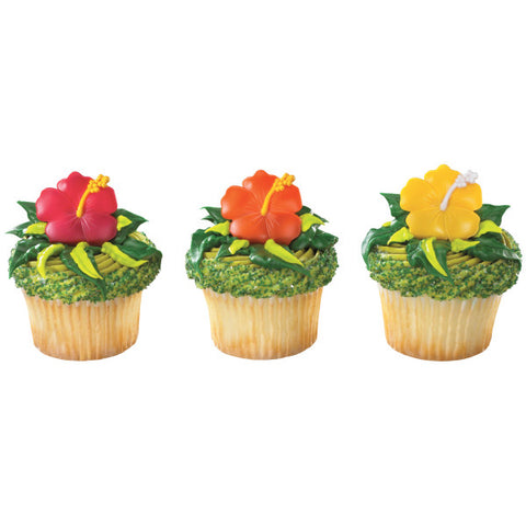 A Birthday Place - Cake Toppers - Hibiscus Flower Cupcake Rings