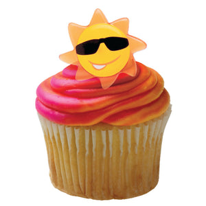 A Birthday Place - Cake Toppers - Sun Face Cupcake Rings