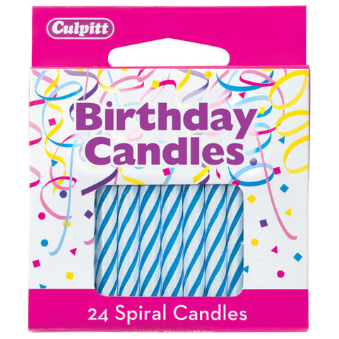 "24 Blue 2 ½"" Smooth & Spiral Candles"