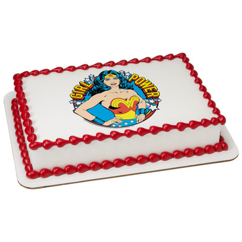 A Birthday Place - Cake Toppers - Wonder Woman Girl Power! Edible Cake Topper Image