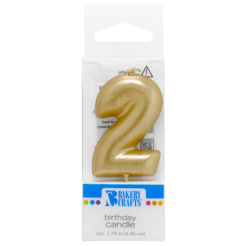 2 Mini Gold Numeral Candles
