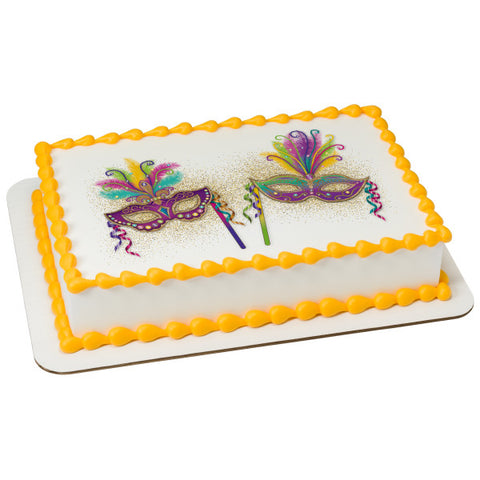 Mardi Gras Party Masks Edible Cake Topper Image