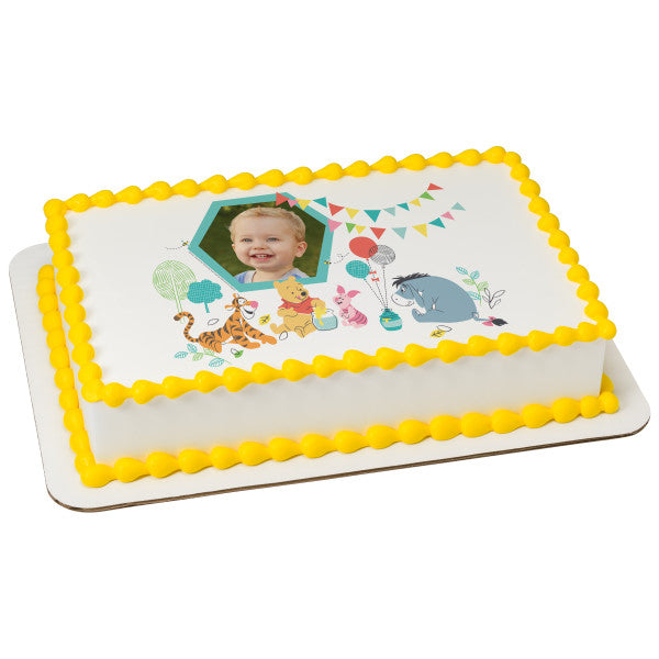 Baby Pooh-1st Birthday Edible Caker Topper Frame