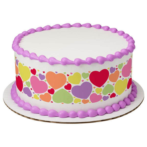 Hearts Edible Cake Topper Image Strips