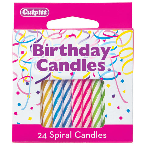 "24 Neon 2 ½"" Smooth & Spiral Candles"