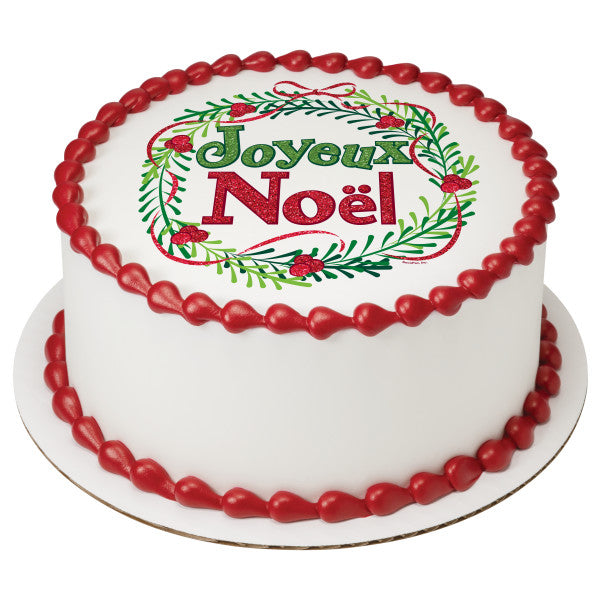 Playful Joyeux Noel Edible Cake Topper Image