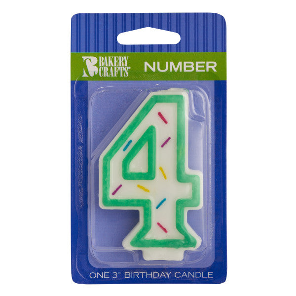 "A Birthday Place - Cake Toppers - Numeral ""4"" Sprinkle Candles"