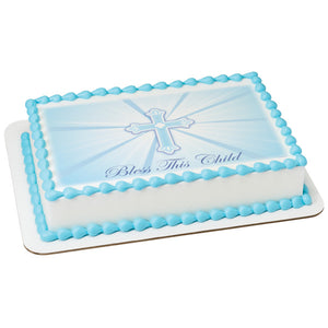 A Birthday Place - Cake Toppers - Bless This Child-Blue Edible Cake Topper Image