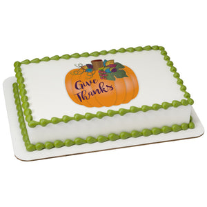 Give Thanks Pumpkin PC image Edible Cake Topper Image
