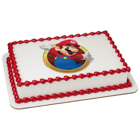 Super Mario Mario Here We Go! Edible Cake Topper Image