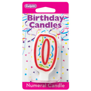 0 Party Red Numeral Candles