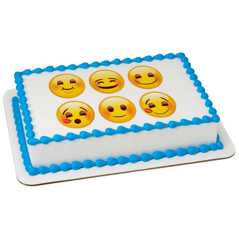 "A Birthday Place - Cake Toppers - Emoji Full of Smiles 3"" Round Edible Cake Topper Image"
