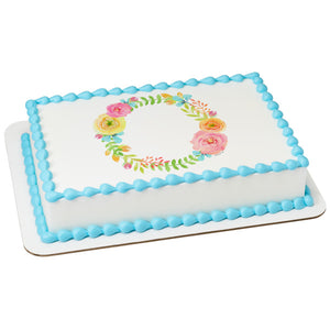 Spring Floral Wreath Edible Cake Topper Image