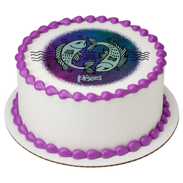 Pisces Edible Cake Topper Image